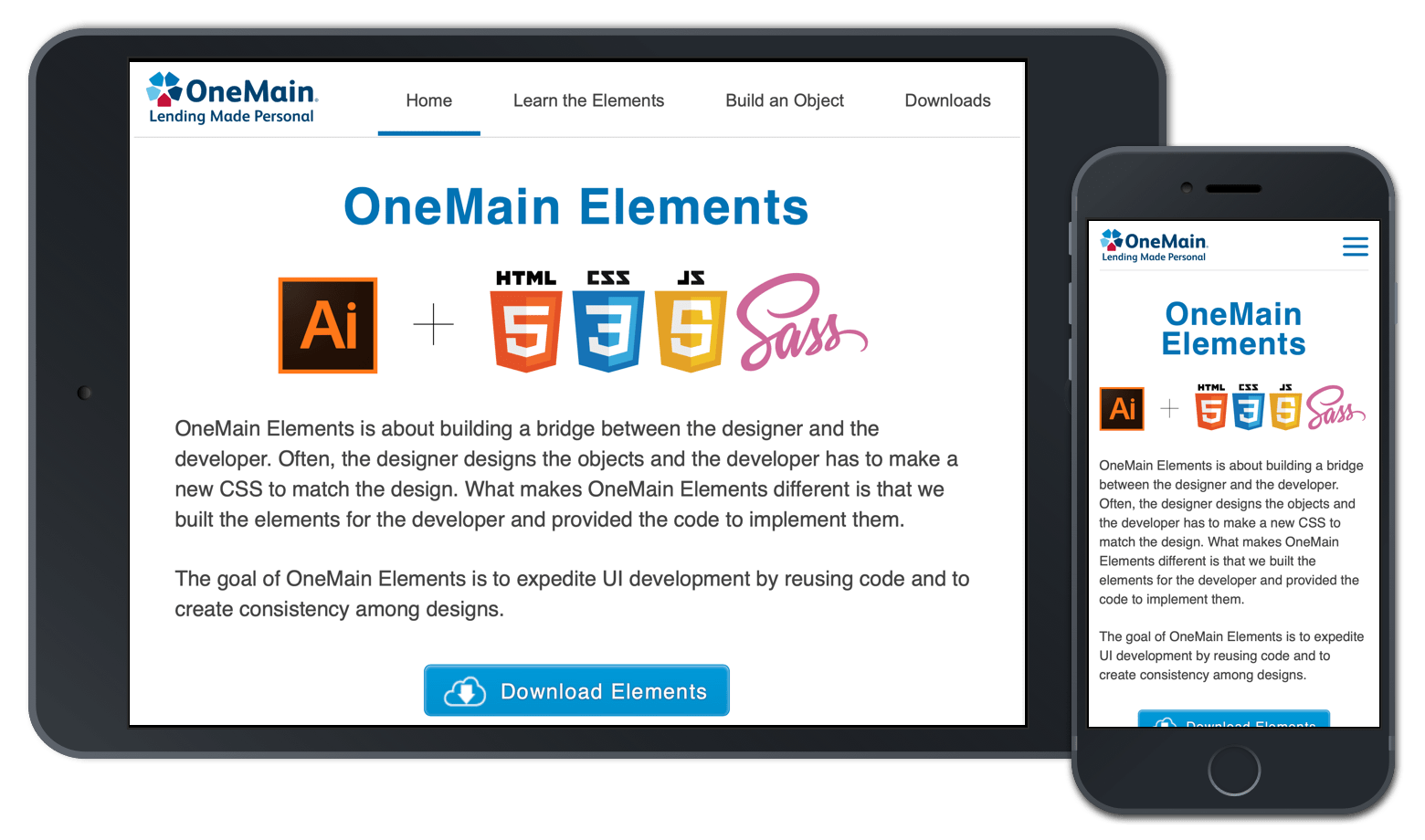 The OneMain Design System called Elements portfolio preview